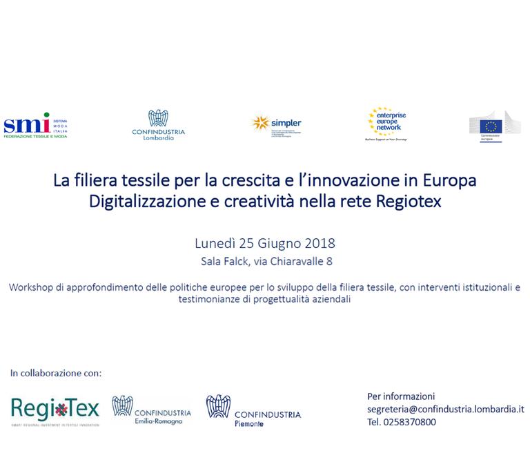 La filiera tessile per la crescita e l'innovazione in Europa. Digitalizzazione e creatività nella rete Regiotex