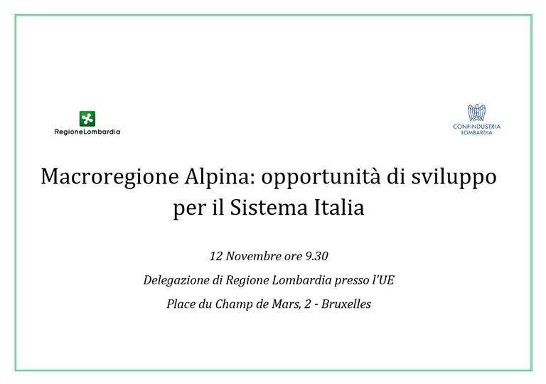 Macroregione Alpina: opportunità di sviluppo per il Sistema Italia