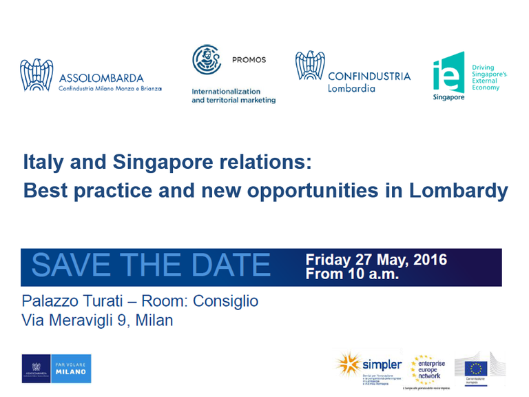 Italy and Singapore relations: Best practice and new opportunities in Lombardy