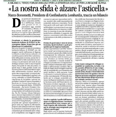 Bilancio presidenza italiana-lombarda di EUSALP positivo, la sfida è alzare l'asticella