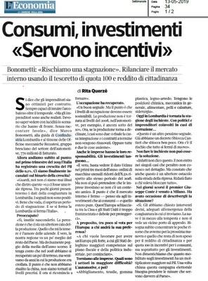 Consumi, investimenti: servono incentivi