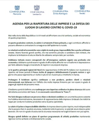 Covid-19, l'agenda di Confindustria Nord per la riapertura in sicurezza delle aziende