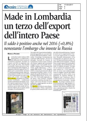 Made in Lombardia un terzo dell'export italiano