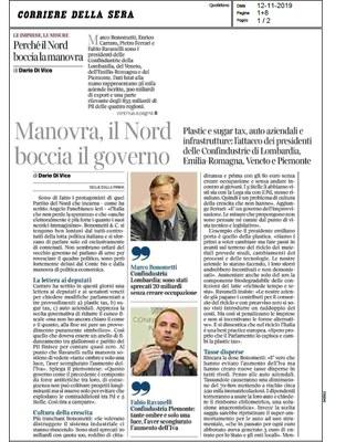 Manovra: Confindustria Lombardia, Emilia Romagna, Piemonte e Veneto bocciano il governo