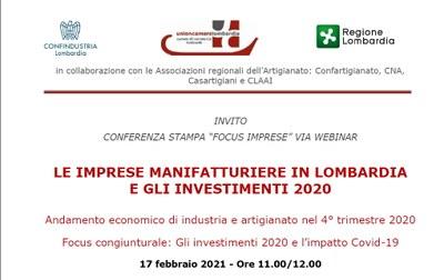 Nel 2020 produzione manifatturiera in Lombardia a -9,8%
