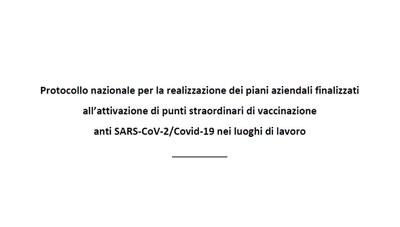Protocollo nazionale vaccinazioni in azienda