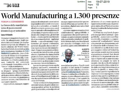 World Manufacturing Forum 2019, obiettivo 1300 presenze