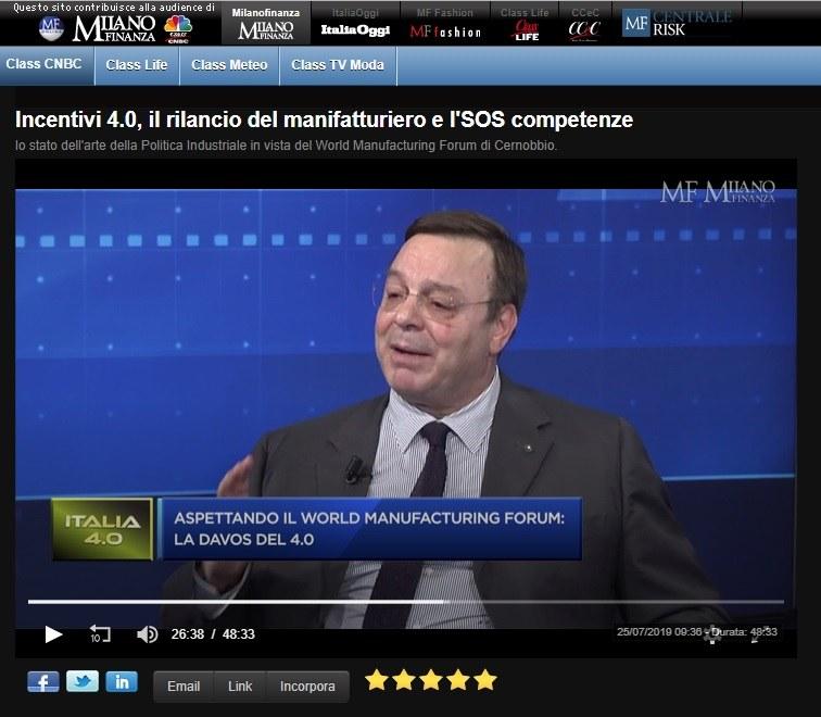 Puntata speciale Italia 4.0 - Class Cnbc sul WMF 2019